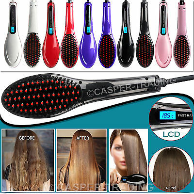 Digital LCD Electric Hair Straightners Brush Styling Professional Comb Massager