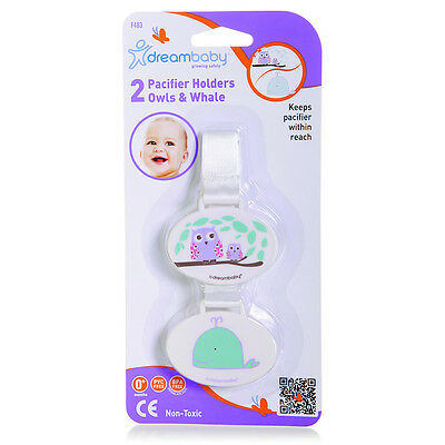 Dreambaby Pacifier Holder - Owl and Whale (2 pack)