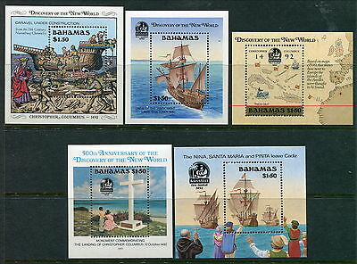 Group of 5 Different MNH Bahamas Souvenir Sheets (Lot #rn128)
