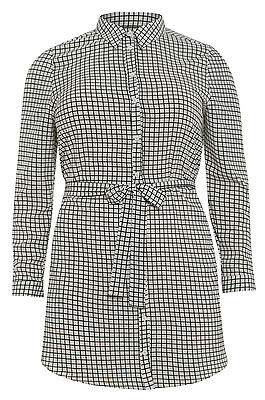 Womens Plus Size White & Black Grid Print Shirt Dress With Pintuck Sleeves