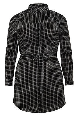 Womens Plus Size Black & White Grid Print Shirt Dress With Pintuck Sleeves