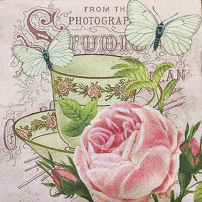 2 single paper napkins decoupage collection Scrapbooking Craft Shabby Flower Cup