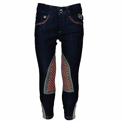 HKM Alos Womens Horse Riding Racing Showing Two Tone Denim Knee Patch Breeches