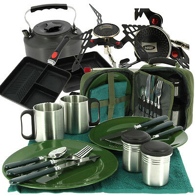 Complete NGT Fishing Camping Cooking Set with Frying Pan Cutlery Stove & Kettle