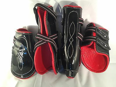 Black patent With Red Cow Softy Leather Lining Tendon & Fetlock boots (Cob)