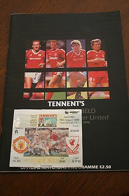 Liverpool v Man Utd 1990 FA Charity Shield Programme + Ticket Stub
