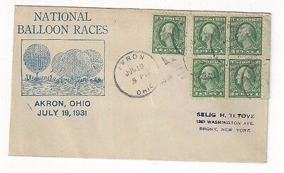 1931 Akron Ohio, National Balloon Races, Airmail