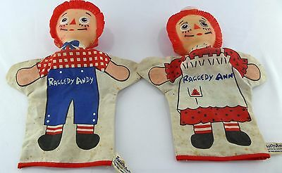 Vintage Raggedy Ann and Andy Hand Puppets Gund 1965 Bobbs-Merrill
