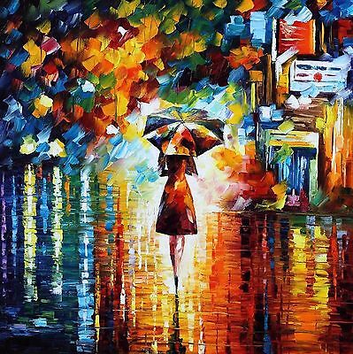 "Stunning Abstract Canvas Painting Print Modern Wall Art Umbrella Girl 24""x24"""