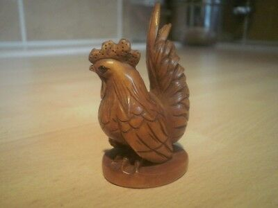 Carved wood netsuke cockeral, rooster or chicken, vintage /antique style figure