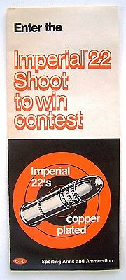 Vintage CIL Ammunition Imperial 22's Shoot to Win Contest Form and Rules - 1973