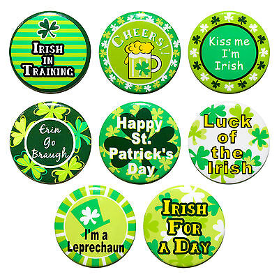 Pack of 8 Green Ireland Irish St Patrick's Day Metal Badges