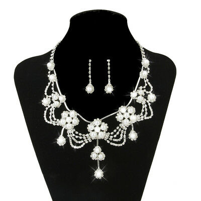 Bridal Wedding Flower Pearl Crystal Diamante Necklace Earrings Jewelry Set