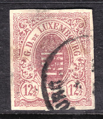 1859-64 LUXEMBOURG IMPERF #8 12-1/2c ROSE, VF, CDS CANCEL