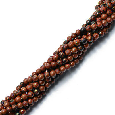 """4mm Natural Red Mahogany Obsidian Gemstone Round Loose Spacer Beads 15"""""""