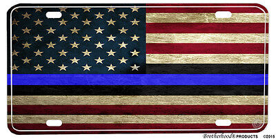 Red & White Thin Blue Line American Law Enforcement Flag Aluminum License plate