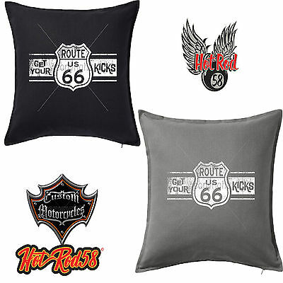 USA American Highway Mother Road Vintage Biker Hotrod Classic Cushion Cover 139