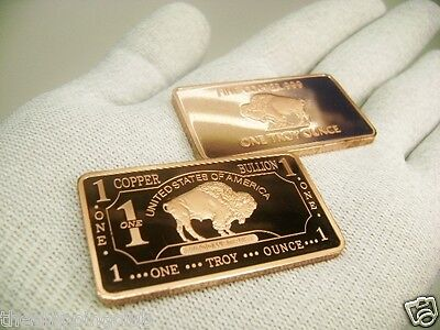 1 x COPPER BUFFALO 1 Troy oz Ounce BAR .999 Fine Metal Bullion Ingot