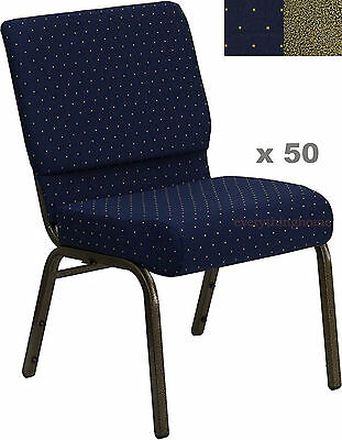 "Lot Of 50 21'' Wide Stacking Blue Church Chairs Gold Dot Frame 4"" Seat 800 Lb Wt"
