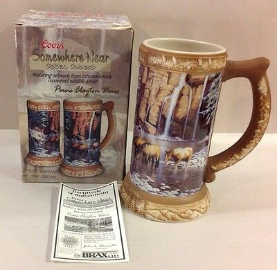 COORS 2005 Beer Stein Somewhere Near Golden Colorado Mug 3nd In Series Horses