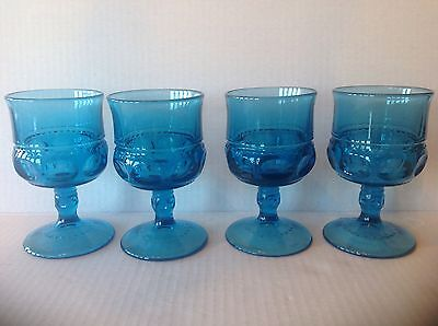 Vtg 4 Indiana Glass King Crown Imperial Blue Goblets for Tiara