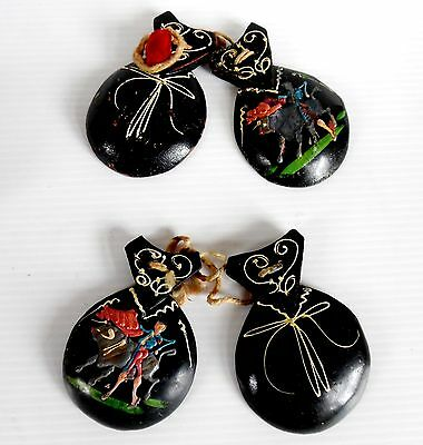 Vintage Hand Painted SMALL CASTANETS PAIR Bull Fighting Scene Black Wood 8 cm