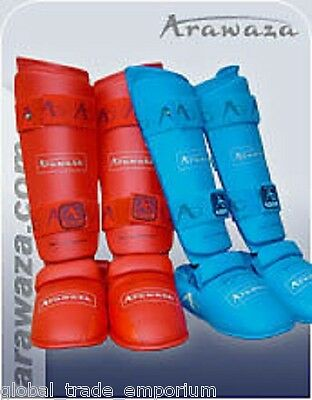 Brand New Arawaza Blue Or Red Shin Pad + Removeable Instep Pad Karate Non Wkf Xl