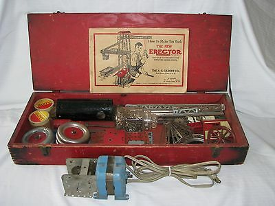 Vintage A.C.Gilbert Co Red Wood Box Construction Toy Erector Set with Motor&Book