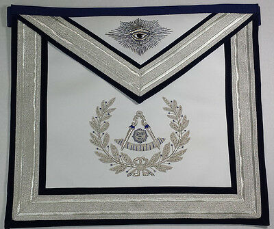 Hand Embroidered Masonic Regalia Past Master Mason Apron Silver