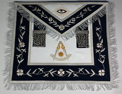 Hand Embroidered Past Master Navy Blue Masonic Apron with Silver & Gold Bullion