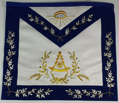 Hand Embroidered Masonic Past Master Mason Apron Royal Blue Gold & Silver