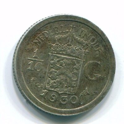 1930 Netherlands East Indies 1/10 Gulden Silver Colonial Coin Nl13454#3