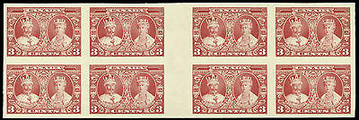 Canada  #213i/5i  3¢ & 10¢ Silver Jubilee IMPERFORATE GUTTER BLOCKS OF 8