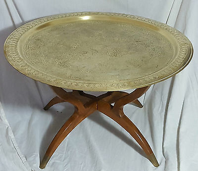 Beautiful Vintage Middle Eastern Large Brass Tray Table. Wooden Stand. 69 cm.