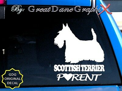 Scottish Terrier PARENT(S) - Vinyl Decal Sticker / Color Choice - HIGH QUALITY