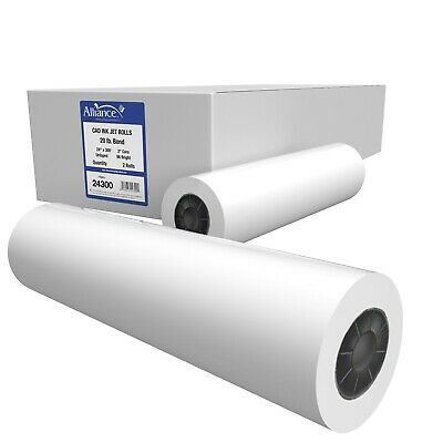 "Alliance CAD Bond Rolls, 24"" x 300' x 2"" Untaped 20lb 2 Rolls"