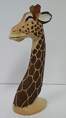Hand Carved Wooden Giraffe Head Figure Figurine Animal Statue Wood Carving
