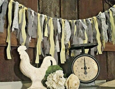 5.5 ft Banner nursery decor rags gray lace Garland Wedding butter yellow boho