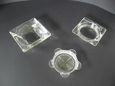 Set Of 3 Vintage Heavy Clear Glass Cigar/cigarette Ashtrays 2 Square 1 Round