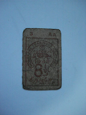 Montreal Tramways Company Bus One Ticket Vintage 1942 Rare