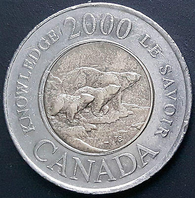 CANADA 2000 CANADIAN TOONIE 2 Two DOLLARS KNOWLEDGE - LE SAVOIR COIN.