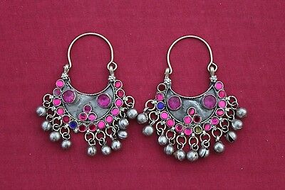 Afghan Kuchi Nomad Tribal Earrings Vintage Antique 18Th Century Alpaca Silver