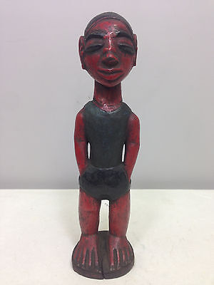 Ivory Coast Baule African Male Statue Hand Carved Painted