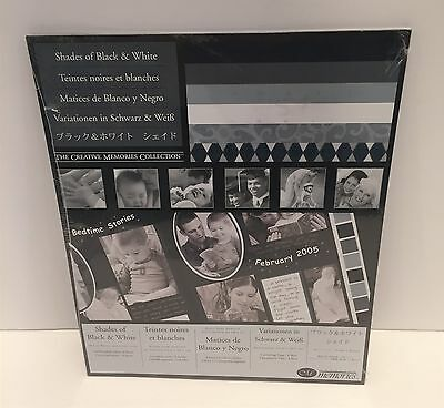 Creative Memories SHADES OF BLACK & WHITE Cardstock Photo Mounting Paper 10x12