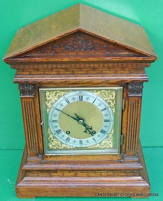 Antique Solid Oak Two Train 8 Day Gong Striking Table Bracket Clock Serviced