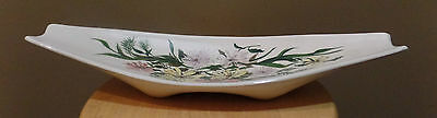 Mid Century Cream Floral Ceramic Oblong Footed CONSOLE Tray DISH Centerpiece