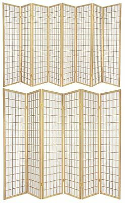6 and 8 Panel Japanese-Oriental Style Shoji Screen Room Divider Natural Color
