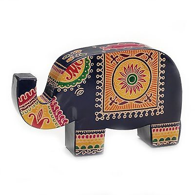 Coin Bank Purple Colorful Leather Lucky Trunk Up Elephant Piggy Money Banks