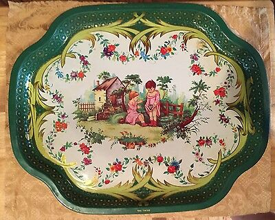 """Vintage Metal Tray Manufacturing Company, Made In England """"The Twins"""" Platter"""