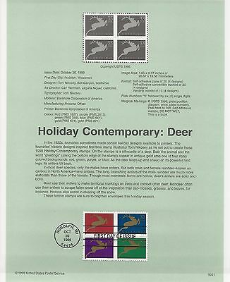 USA FDC USPS First Day Souvenir Pages: 1999:  Holiday Contemporary: REINDEER